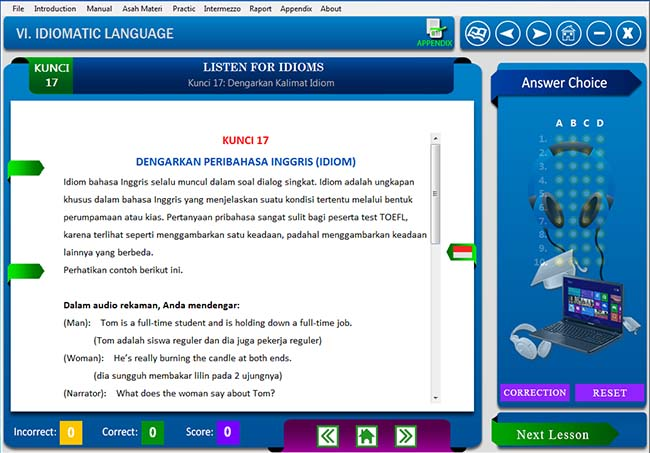 Software belajar soal tes toefl Listening