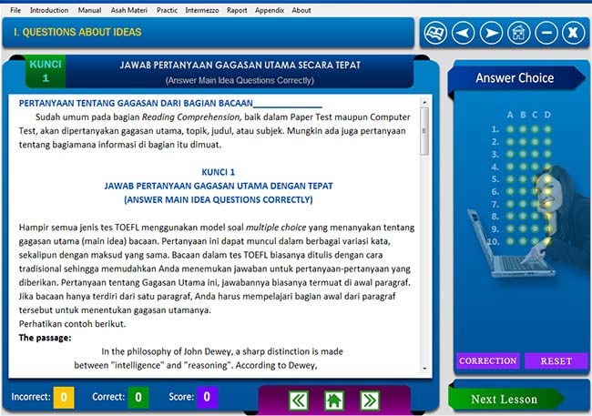 software belajar soal tes toefl Reading