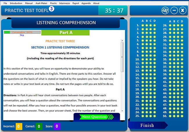 software belajar soal tes toefl tryout