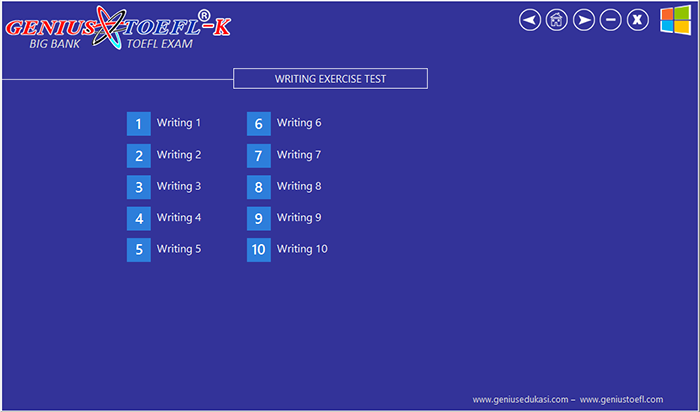 halaman menu writing genius toefl-k