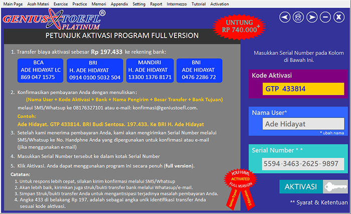 halaman aktivasi serial number software genius toefl platinum